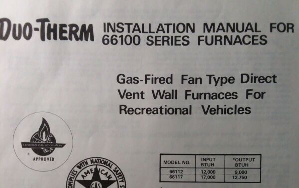 Duo Therm LP Gas Heater Furnace 66100 ser RV Marine Camping Owner amp; Parts Manual $45.99