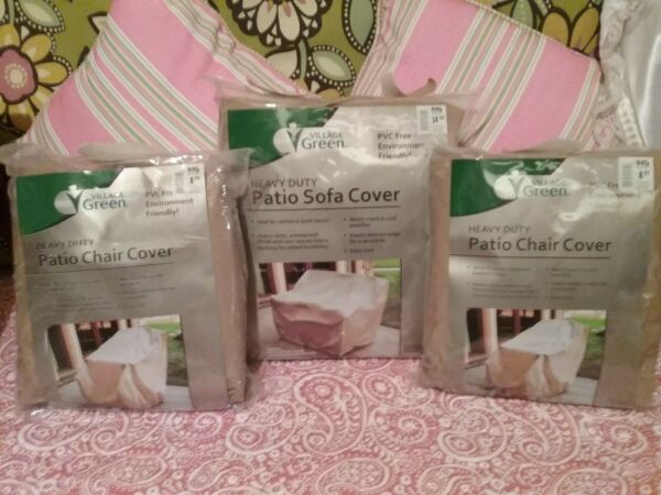 quot;Village Greenquot; Heavy Duty Waterproof Patio Furniture Covers Set 3 $11.00