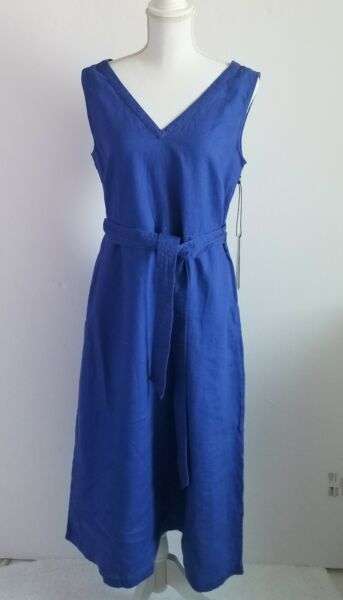 NWT.NICOLE MILLER💃 BLUE 100% LINEN FIT AND FLARE MIDI DRESS USA size 8. EUR 38 $29.99