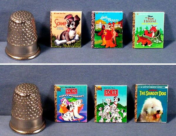 Dollhouse Miniature 1:12 Set of 6 Little Golden Books Disney Dog Covers puppy $5.99