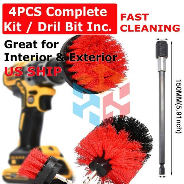 Drill Brush Set Power Scrubber Drill Attachments For Carpet Tile Grout Cleaning $9.95