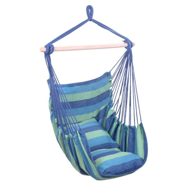 Patio Porch Hanging Rope Chair Garden Swing Seat Indoor Outdoor Hammock2 Pillow $25.99