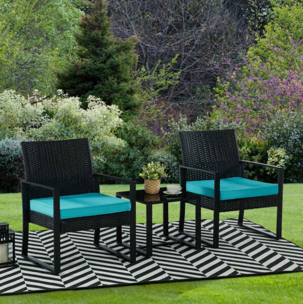 3pc Wicker Rattan Patio Outdoor Furniture Conversation Sofa Bistro Set Garden $124.99