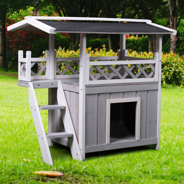 Dog House Outdoor Shelter Roof Cat Condo Wood Steps Balcony Puppy Stairs Grey $66.99