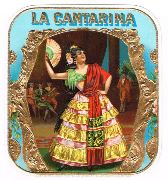 CIGAR BOX LABEL VINTAGE C1910S EMBOSSED LA CANTARINA MOEHLE LITHO FLAMENCO OUTER