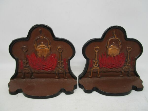 Cast Fireplace with Pot Andirons Bookends Book End Set