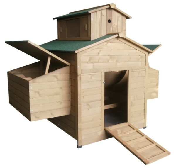 Deluxe Large Wood Backyard Chicken Coop Hen House 6 10 Chickens w 6 nesting box