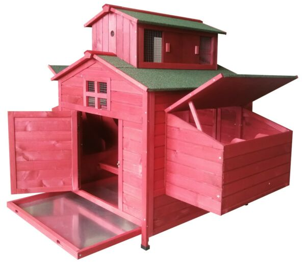 Deluxe Large Wood Backyard Chicken Coop Hen House 6 10 Chickens 6 nesting box