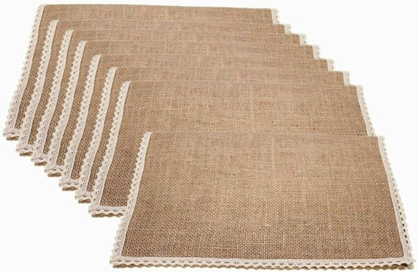 Fxkoolr Set of 8 Jute Burlap Placemats for Party Weddings Holidaysamp;Everyday Use
