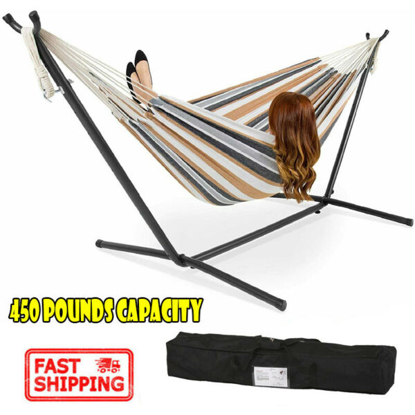 2 Person Hammock Stand With Space Saving Steel Stand Includes Carrying Case $26.87