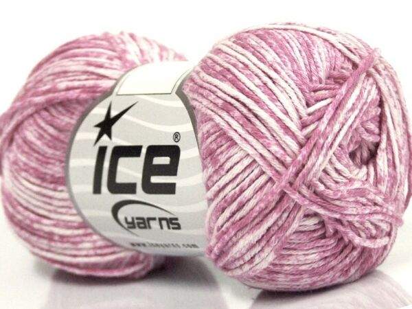 Ice JEANS Yarn #42568 PINK WHITE 100% PURE NATURAL COTTON 50 Grams $8.36