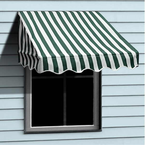 ALEKO Window Awning Door Canopy Decorator 6x2ft Shade Green White Stripes