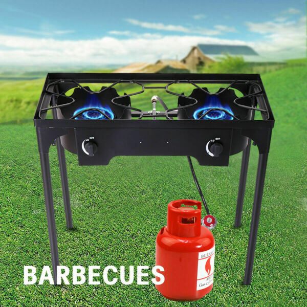 Double Burner Gas Propane Cooker Outdoor Camping Picnic Stove Stand BBQ Grill $79.99