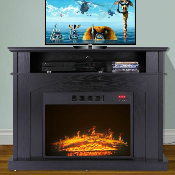 TV Stand Media Fireplace 41quot; Entertainment Storage Wood Console Electric Heater