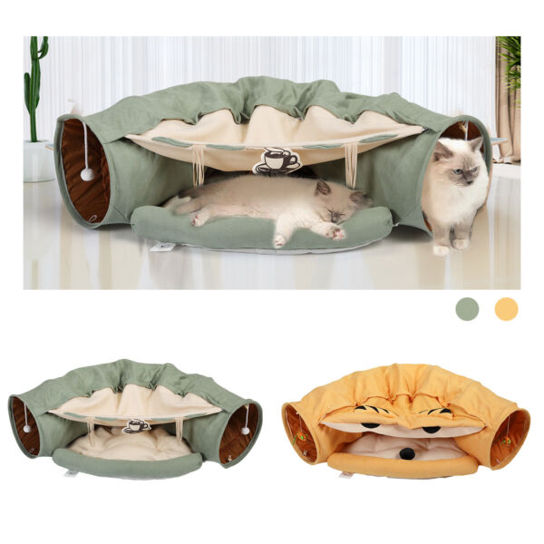 Cat Tunnel Bed Soft Plush Removable Toy Nest Mat Kitten Kitty Pets Collapsible $32.99