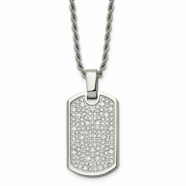 Stainless Steel Fancy CZ Dog Tag Pendant Necklace $89.65