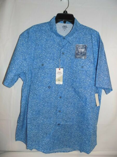 Izod Saltwater Performance Button Up Fishing Vented Shirt Size XL Blue NWT $55