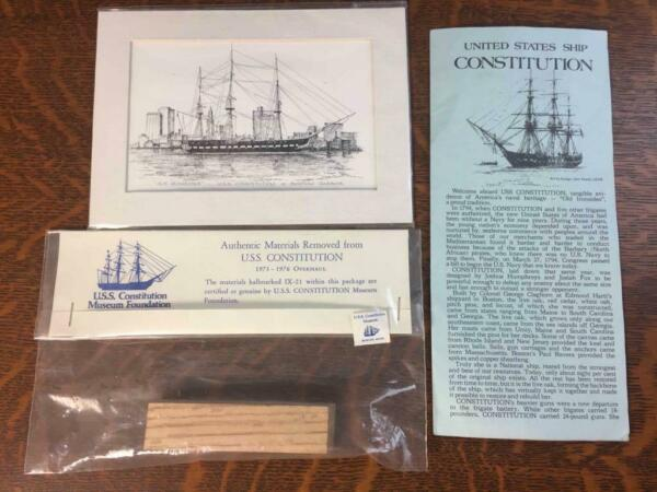 Authentic 4quot; Wood Material Removed from the U.S.S. CONSTITUTION During 1973 76 $245.00