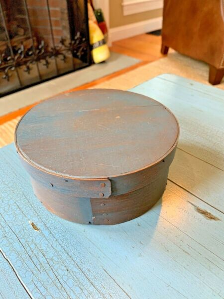 Small Blue Antique Pantry Box 6 1 2quot; Wooden With Square Nails Rustic Wood