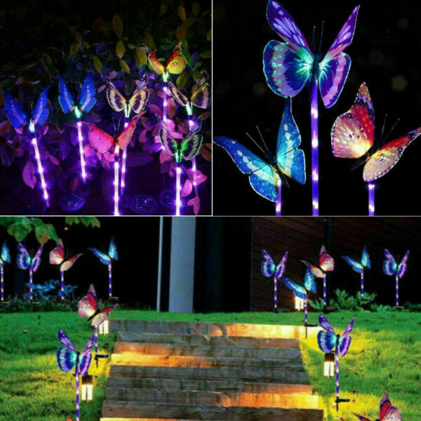 3PC Solar Garden Stake Butterfly Light Outdoor Landscape Lamp Yard LED Lights US $15.98