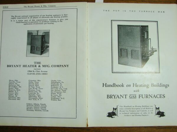 1931 BRYANT HEATER amp; MFG CO Gas Furnaces Heating Catalog Air Cell ASBESTOS Use $155.00