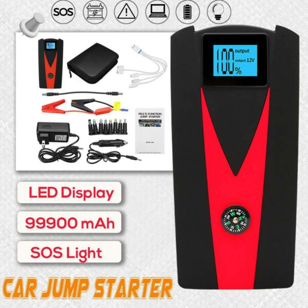 99900 mAh LED Car Jump Starter 2 USB Charger Battery Power Bank Auto Booster 12V