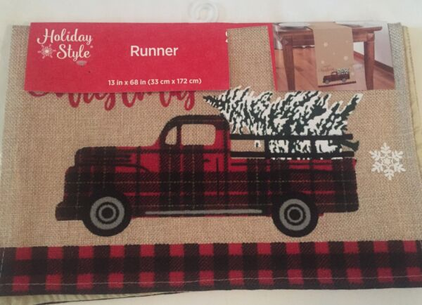 NWT Christmas Tree Vintage Little Red Truck Burlap Runner Buffalo Check