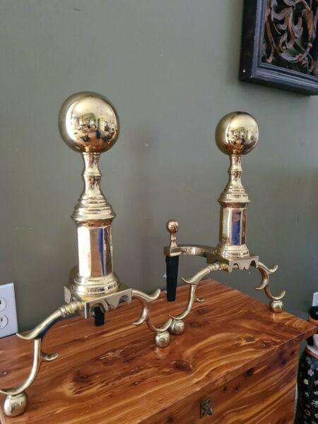 "Original Virginia Metalcrafters Harvin Solid Brass ""Hampton"" Andirons"