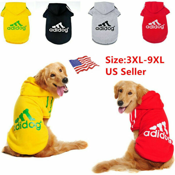 Adidog Pet Large Dog Clothes Hoodie Winter Warm Sweatshirt Shirt Coat Jacket US $8.99