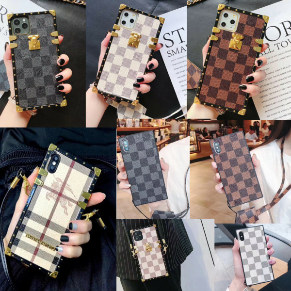 For iPhone 11 Pro Max XS XR 7 8 Case Luxury Metal Corner Square PU Leather Cover $10.99