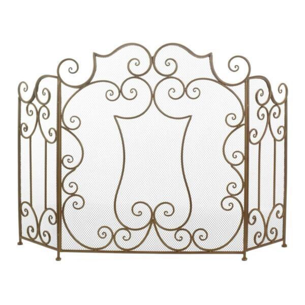 Tri Section MODERN SCROLL FIREPLACE SCREEN