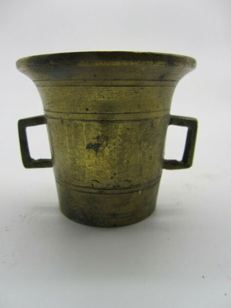 Vintage Small Brass Bronze 2 Handled Apothecary Pharmacy Cup Mortar