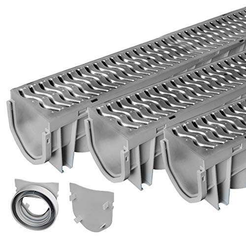 Source 1 Drainage Trench amp; Driveway Channel Drain with Galvanized Steel Grate