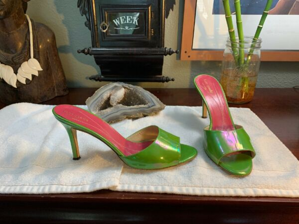 Kate Spade New York Pump NEON Green Color Patent Leather 9.5 M RARE Peep Toe $79.99