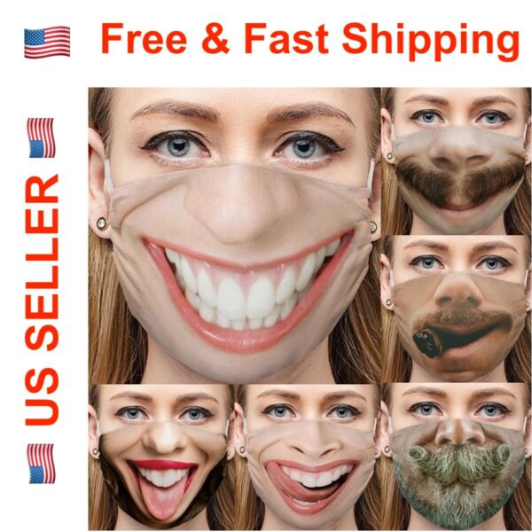 Funny Face Mask Cover Smiley Face Novel Design with Nose Wire 3D Print Washable $7.99
