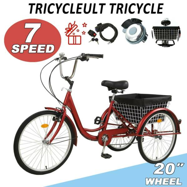 Adult Tricycles Three Wheel Trike Bike Cruiser 7 Speed 20″ w Cargo Basket RED $212.99