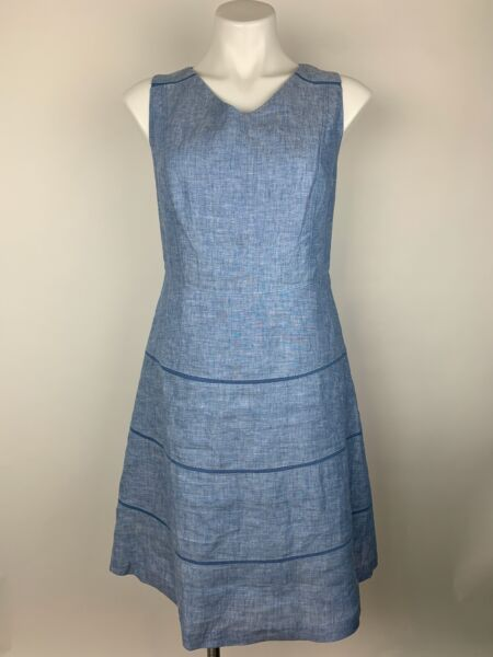 Talbots Chambray Light Blue 100% Linen Fit Flare Dress 12 Petite Excellent $49.45