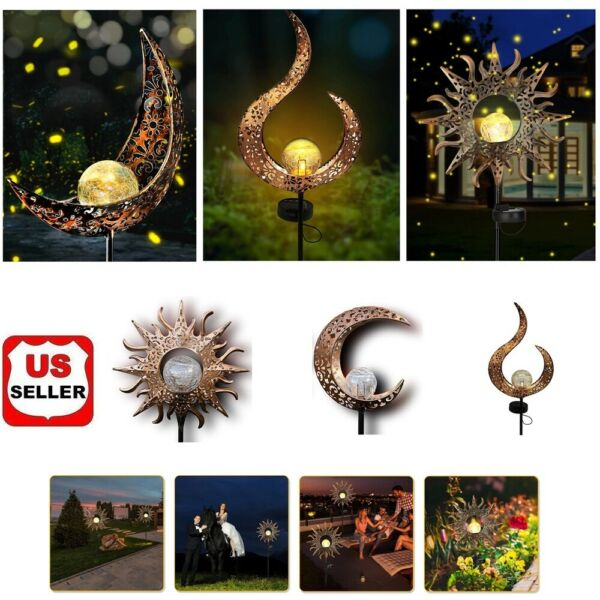 Solar Garden LED Lights Outdoor Metal Decorative Stake Light Crackle Glass Globe