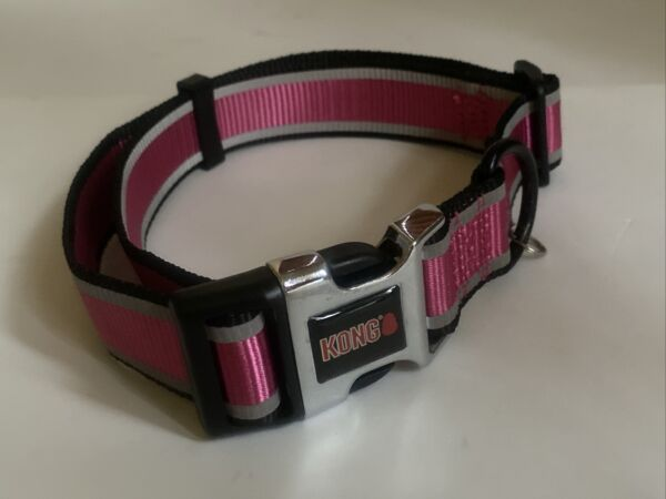 Kong Adjustable Dog Reflective Collar Pink Size L XL 18 30 In Neck $7.00