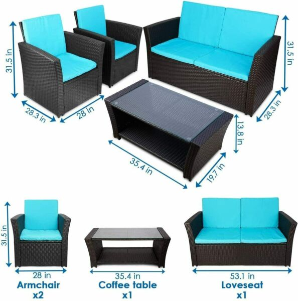4 PCS Patio Furniture Sectional Sofa Set Outdoor Rattan Wicker Cushioned Couch $294.99