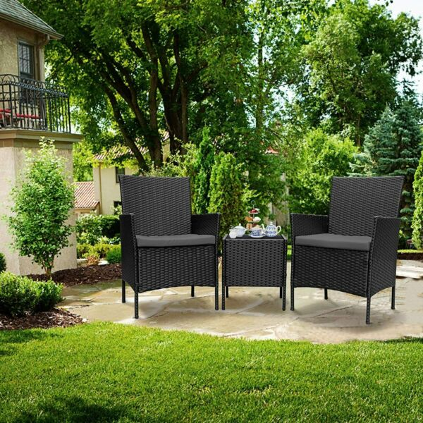 3pcs Wicker Rattan Patio Outdoor Furniture Conversation Sofa Bistro Set Garden $109.99