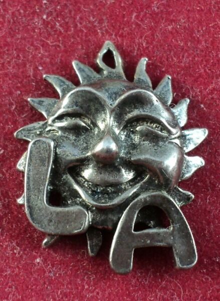 Sterling SILVER Charm FACE ON THE SUN for LA. Los Angeles California