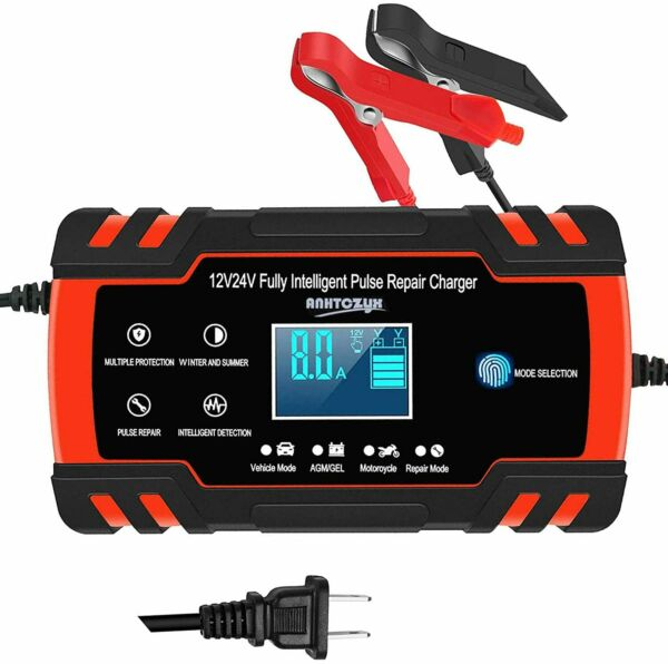 Car Battery Charger 12V 8A 24V 4A Automatic Smart Battery Charger Maintainer $27.99