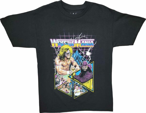 New Men#x27;s WWE Wrestlemania Ultimate Warrior Vintage Retro WWF Black T Shirt Tee