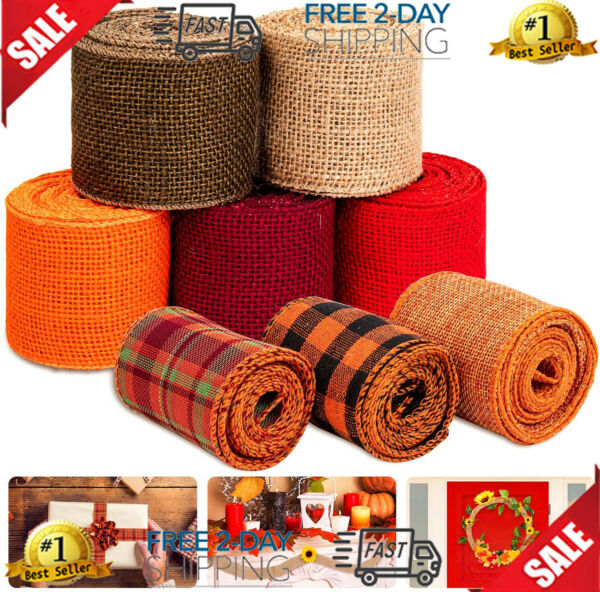 Whaline 8 Burlap Ribbon Roll Assorted Fall Wired Wrapping Rustic...
