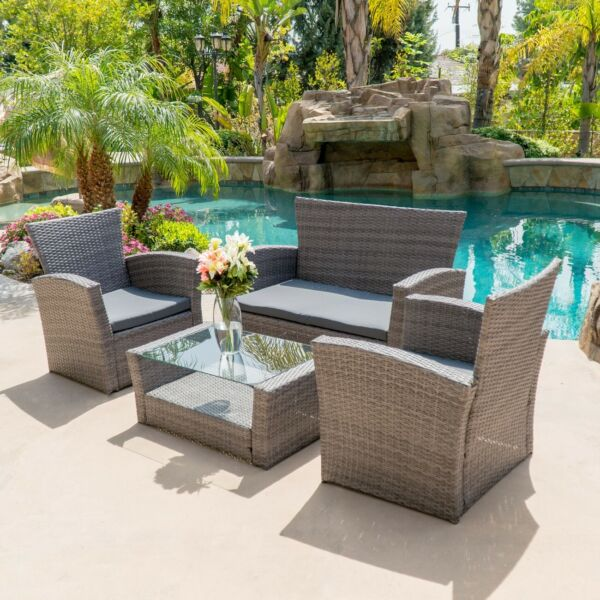 4pc PE Rattan Wicker Sofa Set Cushion Outdoor Patio Sofa Couch Furniture Gray $389.99