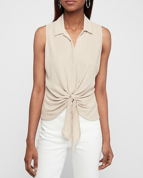 Express Tie Front Tank Color Tan New With Tags