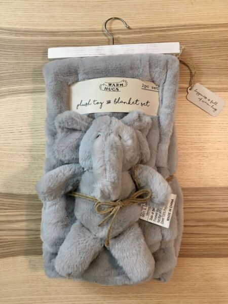 Elephant Plush Toy and Blanket Set by Warm Hugs 2pc New With Tags and Hanger $19.99