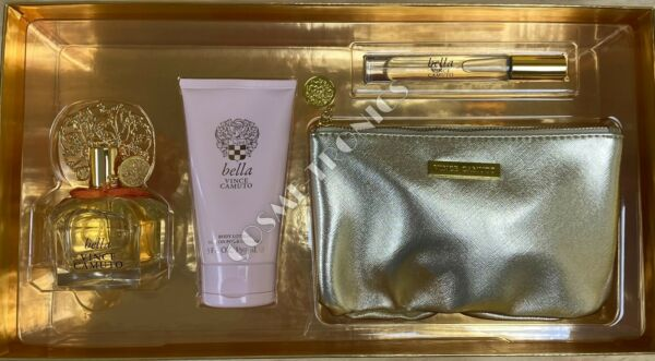 Vince Camuto Bella 4 Piece SET 3.4 OZ EDP SPRAY Body Lotion Rollerball Bag