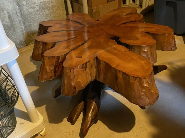 Handmade Wooden Coffee Table Made From A Real Tree Vintage Table